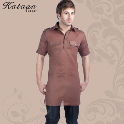 Brown Half Sleeved Linen Kurti