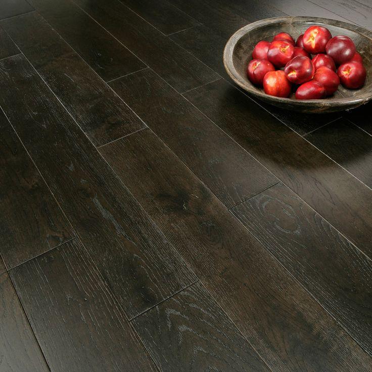 Florence Solid Black Oak 125mm Brushed & Lacquered Flooring