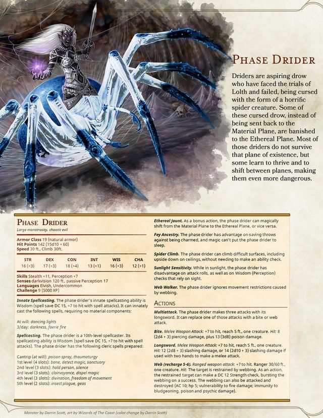 Reddit - UnearthedArcana - Phase Drider | D&d in 2019 | Dnd monsters