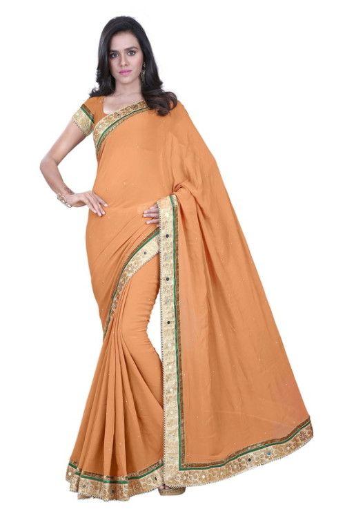 Copper Orange Sarees @ 1600 Bhagalpuri Saree With Embroidary Border