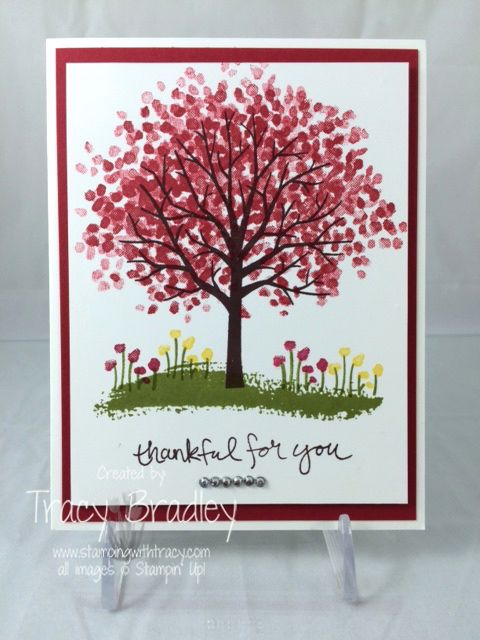 Thankful for You card by Tracy Bradley using Sheltering Tree stamp set in the 2015 Stampin' Up! Occasions catalog www.stampingwithtracy.com