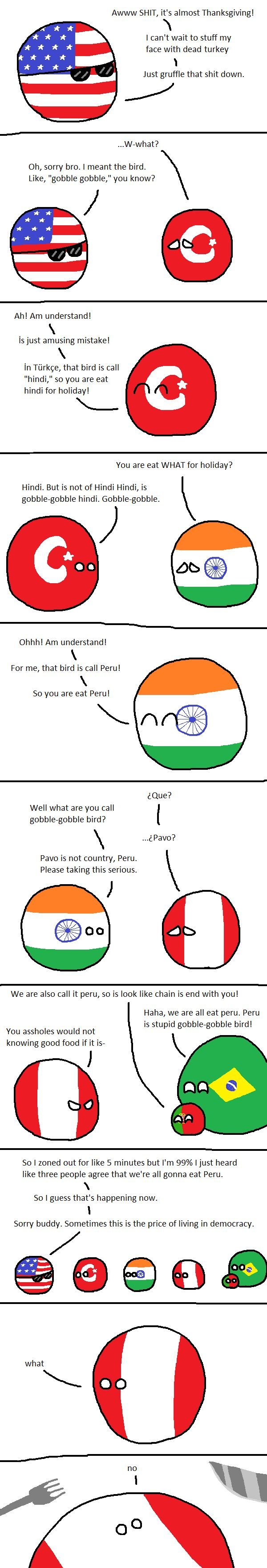 Eating Turkey (USA, Turkey, India, Peru, Brazil, Portugal) by FVBLT #polandball #countryball