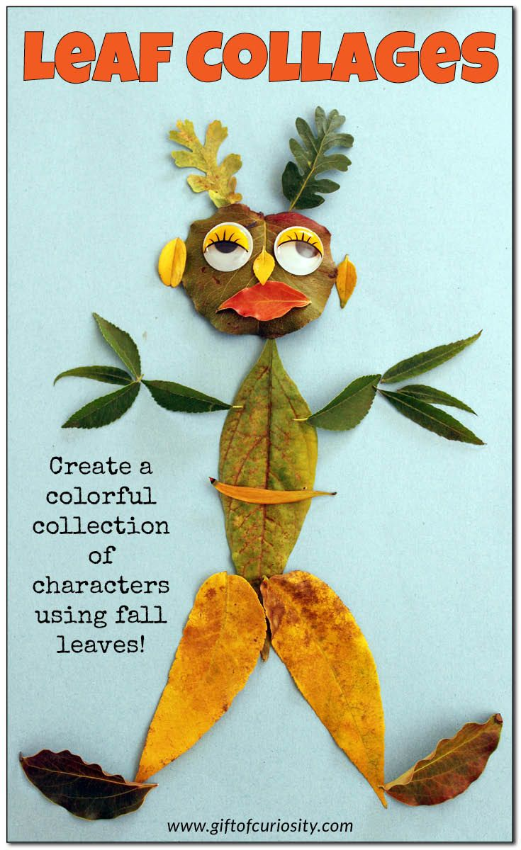 Leaf collages: Create a colorful collection of characters using fall leaves with this open-ended art project for kids    Gift of Curiosity
