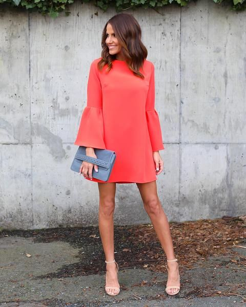 Just Believe Bell Sleeve Dress - Coral