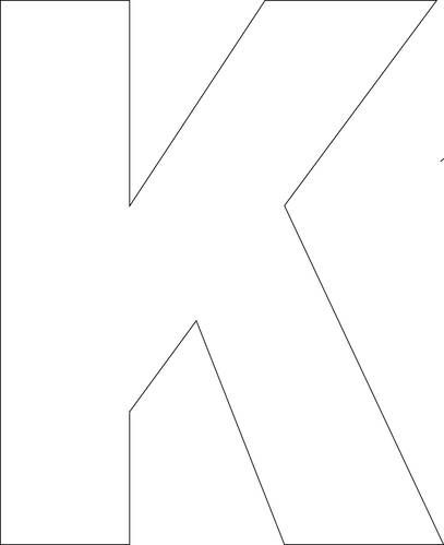 K - Free Printable Upper Case Alphabet Template for paper mâché or spray painting or even letter cut out decorating