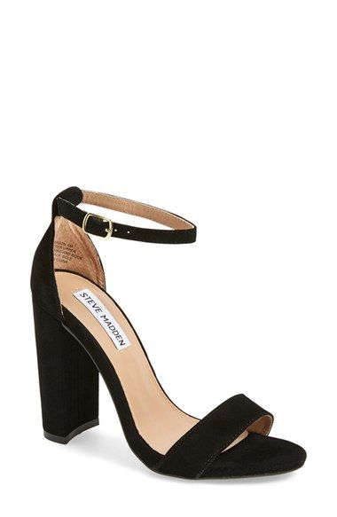 Free shipping and returns on Steve Madden 'Carrson' Sandal (Women) at Nordstrom.com. A minimalist ankle-strap sandal set on a chunky heel is cast in lush suede.