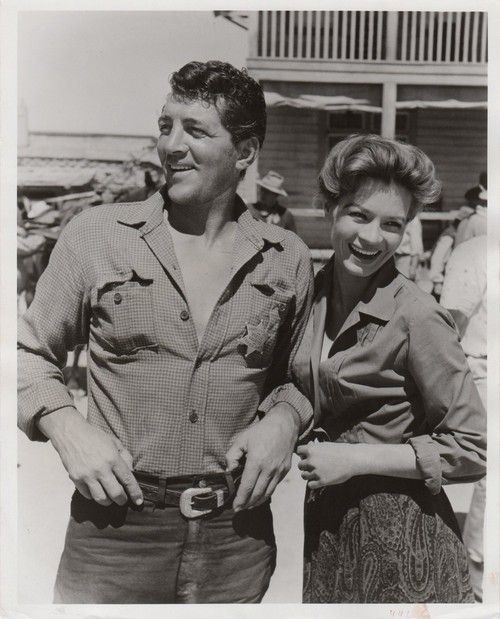 Dean Martin and Angie Dickinson during filming of Rio Bravo  (1959)
