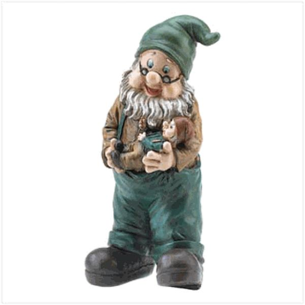 Our cute garden gnomes are a long time garden favorite for the flower bed and make an excellent backyard statue. This funny gnome is rather cute with grandpa holdig a baby gnome for a fairytale garden. We consider these garden gnomes