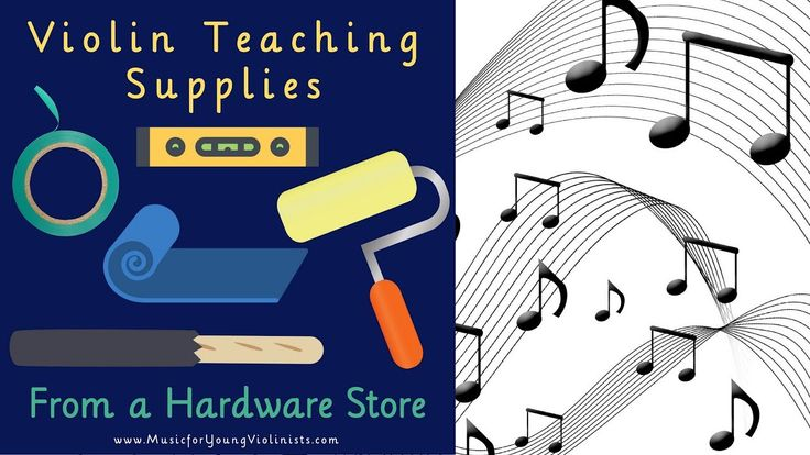 VIOLIN TEACHING SUPPLIES - LEARN: 1- How to bow straight on the violin. 2- A clever & economical item to help keep the violin high. 3- How to create fingerboard tapes in a pinch. 4- And more - all with items from a hardware store
