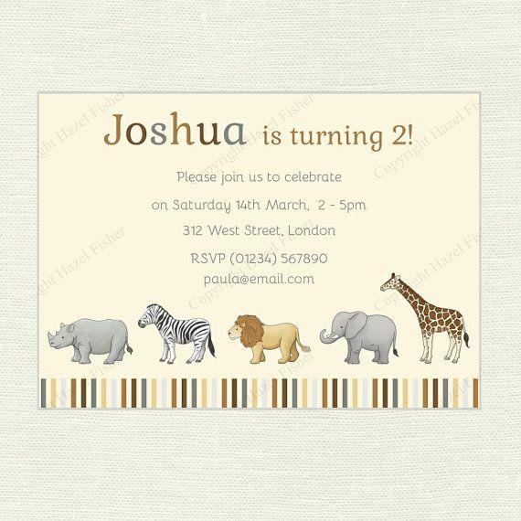 Safari Animals Invitation printable digital invite by hfcSupplies