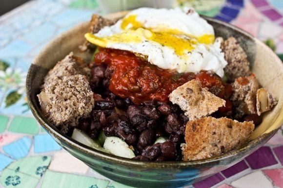 cuc + tomato salad, black beans, tomato sauce, an egg and Cville ...