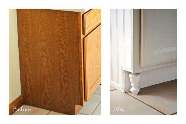 cabinet redo-use finials as feet