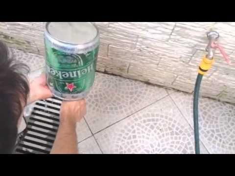 Como fazer uma lixeira com o barril de chopp Heineken de 5 litros