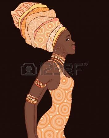 Geleneksel türban Pretty Afrikalı Amerikalı kadın. photo
