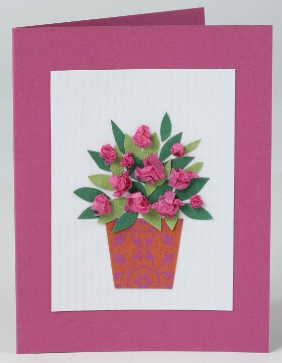 How to make a Mother's Day card Flowers vase plant pot leaves children craft simple