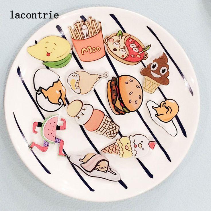 1 UNIDS Deliciosa Comida En Forma de Placas Serie 2 El Envío Libre de Alimentos de Dibujos Animados Iconos de Acrílico Pin Insignia Mochila Decoración Pasadores