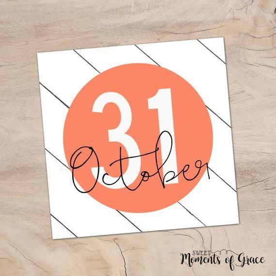 Orange October 31 Halloween Printable Shiplap Sign, Fall ...