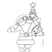 Coloriage du Père Noël bras ouverts devant le sapin