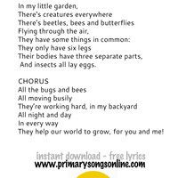 A song resource for minibeast / insect / living things unit.  Ideal for school students and assemblies.