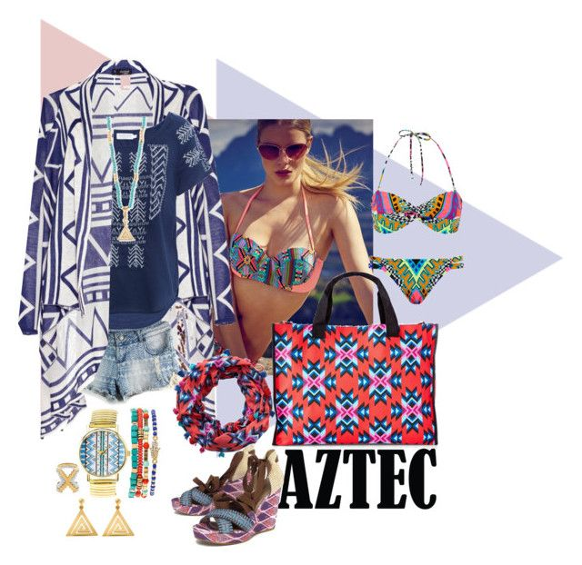 """""""Aztec Prints"""" by mellapr ❤ liked on Polyvore featuring Lipsy, AFTERSHOCK, Velvet by Graham & Spencer, Stuart Weitzman, Express, ChloBo, Monica Sordo, Mara Hoffman and Charlotte Russe"""