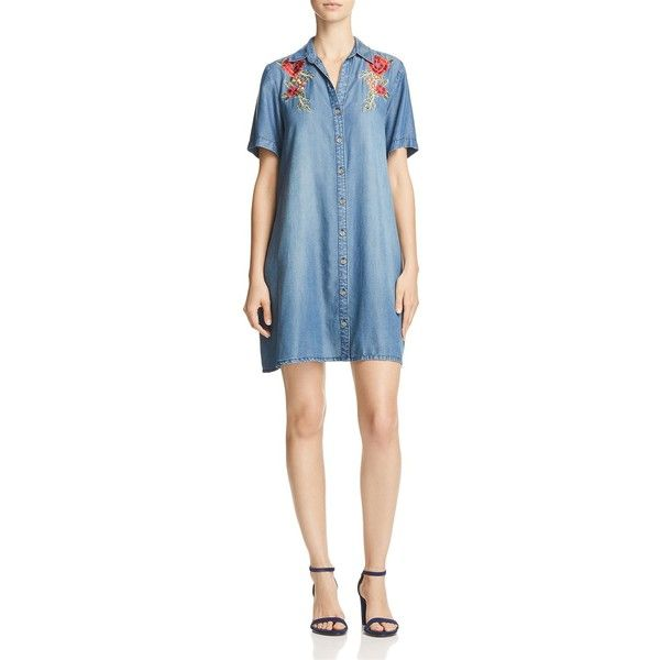 Aqua Embroidered Chambray Shirt Dress - 100% Exclusive (€83) ❤ liked on Polyvore featuring dresses, medium indigio sanded, t-shirt dresses, floral embroidered dress, chambray shirt dress, blue shirt dress and blue dress
