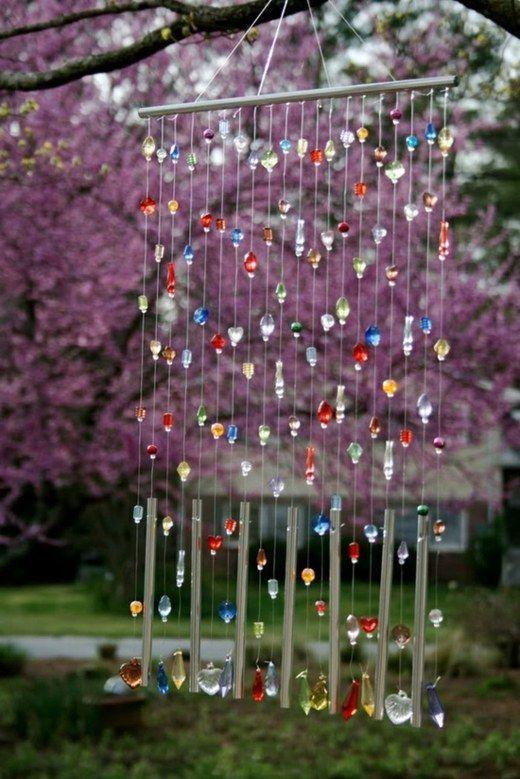 carillon éolien avec des cristaux