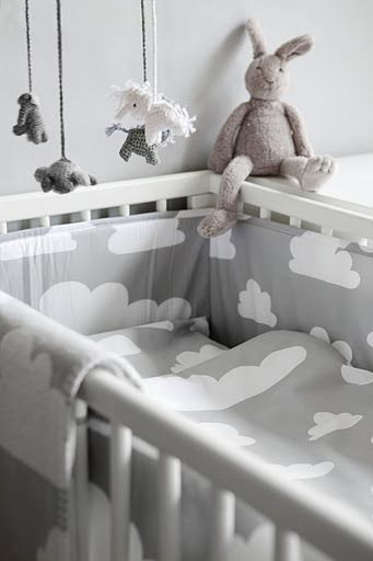 How beautiful grey and white tones can be in the nursery!