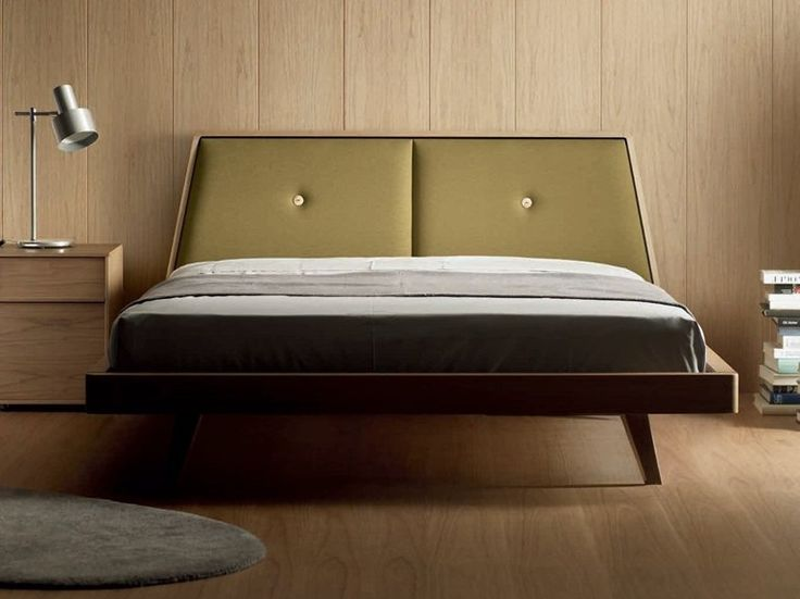 Wooden double bed with upholstered headboard LOA Loa Collection by TREKU | design Angel Martí, Enrique Delamo