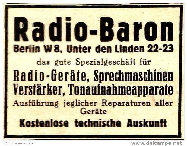 Original-Werbung/ Anzeige 1934 - RADIO BARON / BERLIN - UNTER DEN LINDEN - ca. 45 x 35 mm