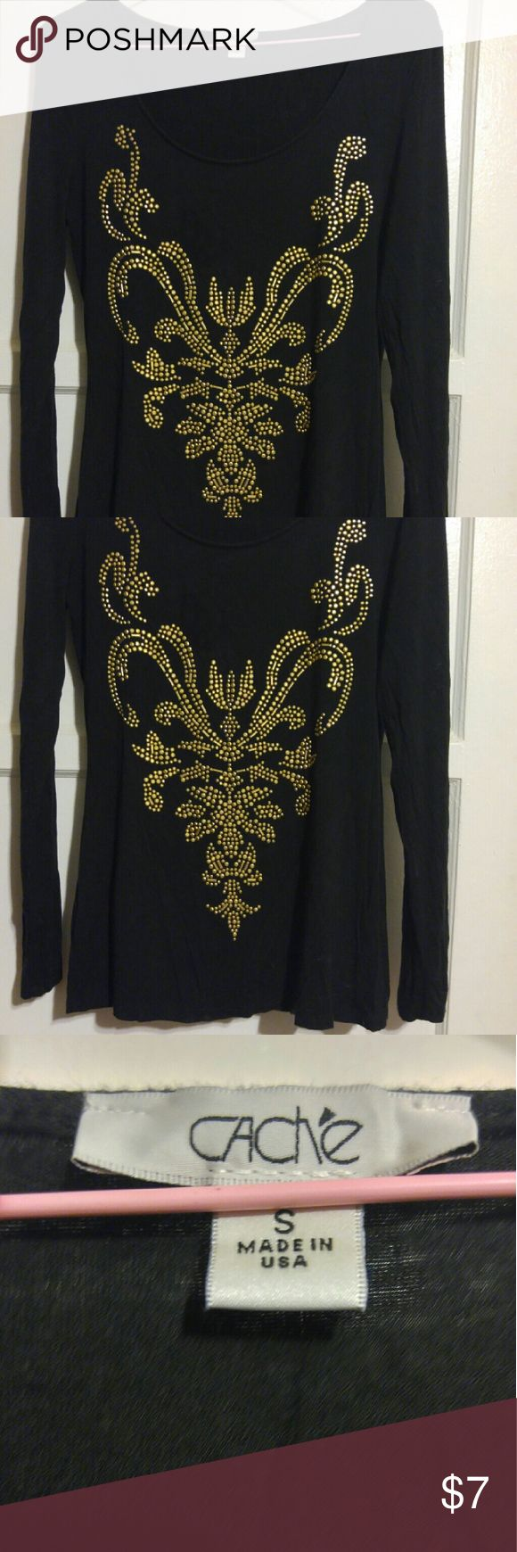 CACHE Black Long Sleeve Top CACHE black long sleeve spandex n rayon t-shirt top with muted gold embellishments in front. It is so comfortable to wear (feels good on your skin). The black is very dark black which makes the design stand out. Very stunning tee. Cache Tops Tees - Long Sleeve