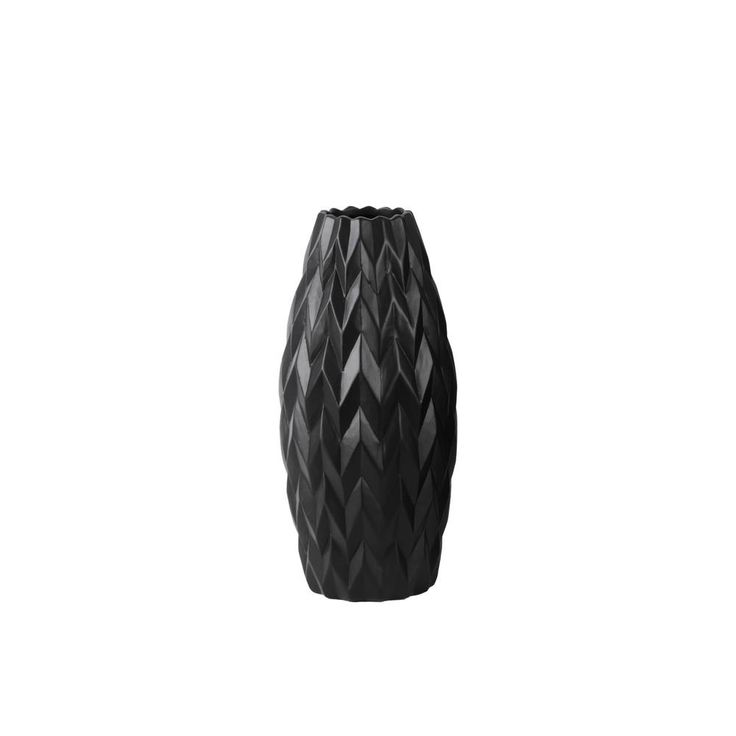 Black Matte Finish Ceramic Decorative Vase, Blacks