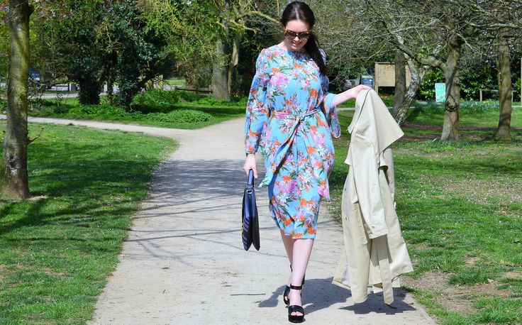Marks and Spencer floral dress and black wedge shoes