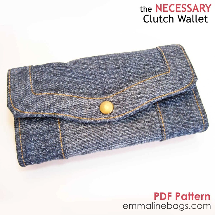 The Necessary Clutch Wallet PDF:  A Large wallet with card slots and room for your Smart Phone. $8.50, via Etsy.