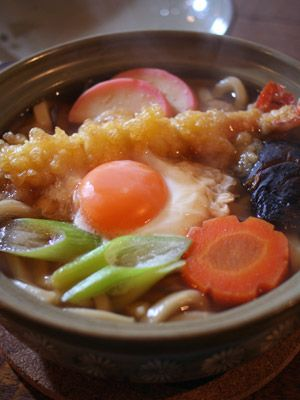 Japanese Popular Noodle Hot-Pot with Prawn Tempura, Sliced Negi Onions and Poached Egg, for Winter | Nabeyaki