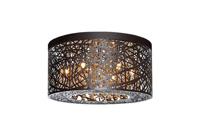 Six Lamp Ceiling with Bronze Laser Cut Shade : 510106BZ | Living Lighting Beaches