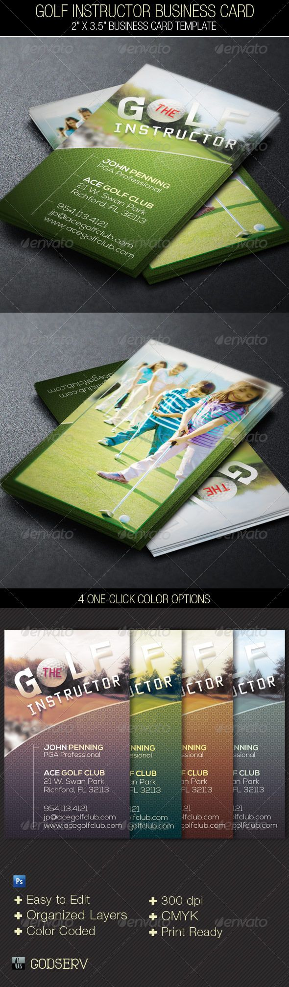 """Golf Instructor Business Card Template  #GraphicRiver         The Golf Instructor Business Card Template is for a modern professional golf instructor, PGA Professional, club house or professional player. The template can also be used for other sports with simple edits. Make it part of your arsenal in your template database. Sold exclusively on graphicriver .   In this package you'll find two 3.5""""x2"""" Photoshop Templates with 4 Photo Options. The template is Easy To Edit, all layers are…"""