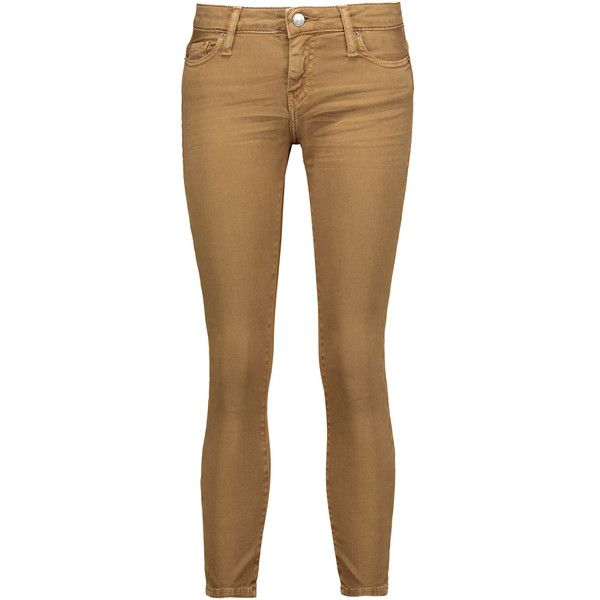 IRO - Alyson Low-rise Cropped Skinny Jeans ($90) ❤ liked on Polyvore featuring jeans, tan, skinny jeans, tan skinny jeans, button-fly jeans, low rise jeans and cut skinny jeans