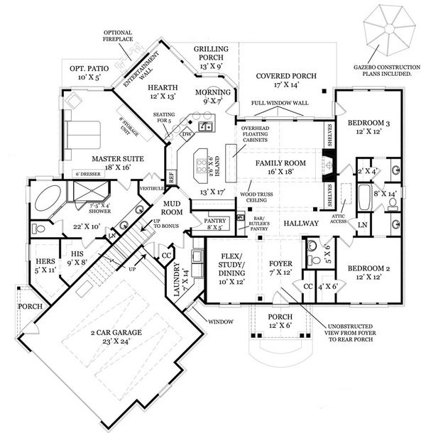 Craftsman Style House Plan - 3 Beds 2.50 Baths 2404 Sq/Ft Plan #119-369 Floor Plan - Main Floor Plan - Houseplans.com