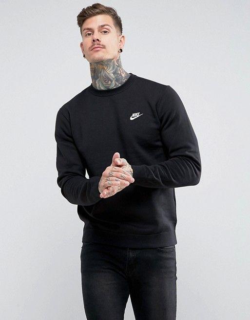2fd0ab72c Nike Club swoosh crew sweatshirt in black 804340-010 in 2019 | fresh pt2 |  Sweatshirts, Crew sweatshirts, Mens sweatshirts