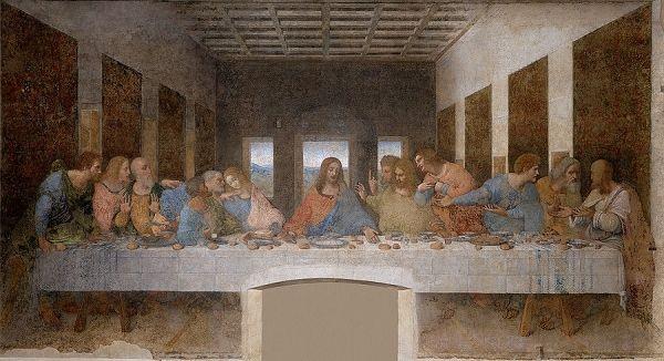 Leonardo da Vinci, het laatste avondmaal. Een van de christerlijke schilderijen van Leonardo da vinci. Met zijn schilderijen over godsdienst heeft leonardo kunstenaars van nu een voorbeeld gegeven voor een open beeld van het christendom.