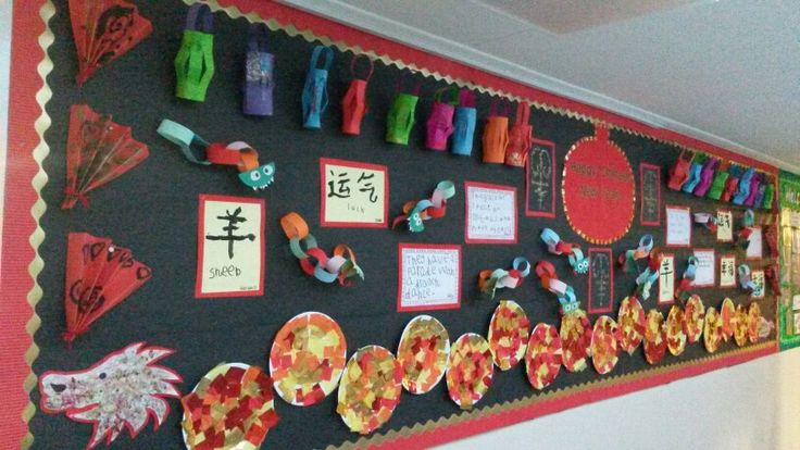 Chinese New Year Display - symbols, paper chain dragons, lanterns, fans and a paper plate dragon!