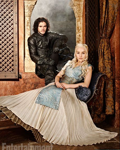Game of Thrones - a family portrait?  There is the rumor that Jon was not Ned's son, but rather the son of Ned's sister, Lyanna and Prince Rhaegar Targaryen. So Jon and Dani are actually half-siblings and they are first cousins of the Stark kids.  We will see!