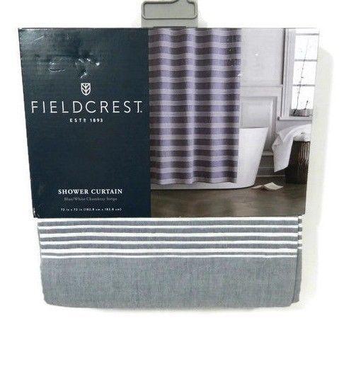 Fieldcrest Shower Curtain Fabric Navy Blue White Stripe Chambray