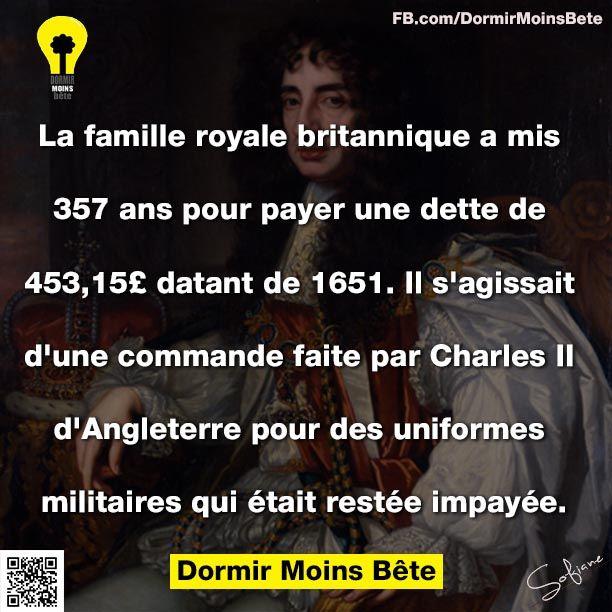 La famille royale britannique a mis 357 ans pour payer une dette de 453,15£ datant de 1651. Il s'agissait d'une commande faite par Charles ll d'Angleterre pour des uniformes militaires qui était restée impayée.