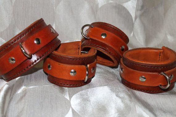 brown/tan BDSM/Bondage Wrist and Ankle restraints.