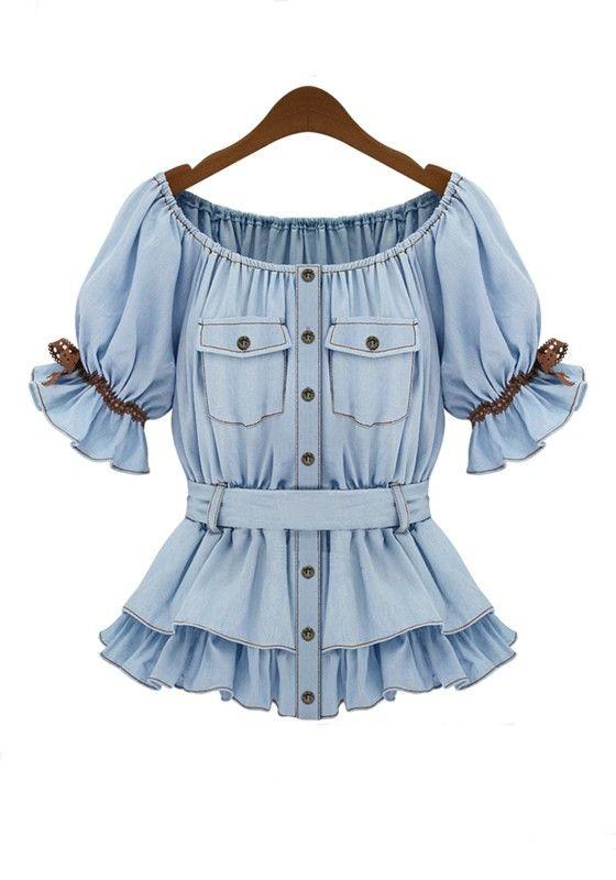 Light Blue Plain Cap Sleeve Wrap Cotton T-Shirt