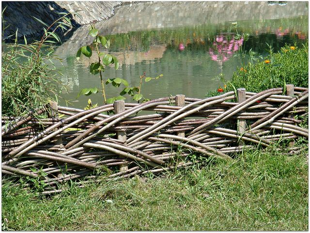 Rustic Fences Images | Rustic Fence Short Woven Fence For The Flower Bed  Around An Artificial