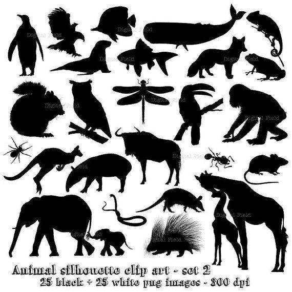 Animal Silhouette Clip Art Set 2 Wild Animal Printable Digital Clipart Instant Download