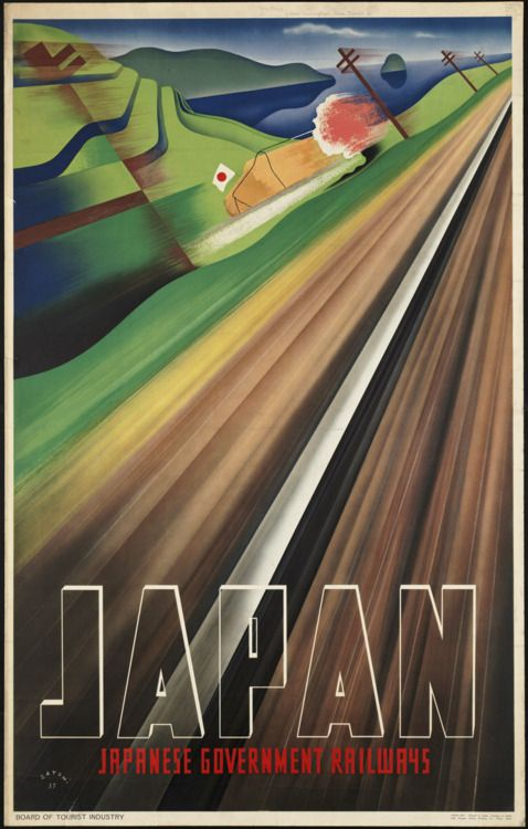 Japanese poster of government railways, designed by Mune Satomi 1937