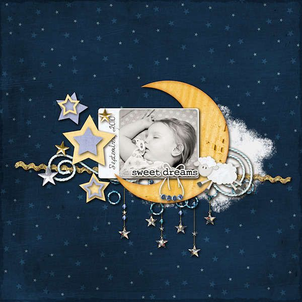 Inspiration. layout. sweet dreams baby I would move the moon to the lower right corner with the stars above
